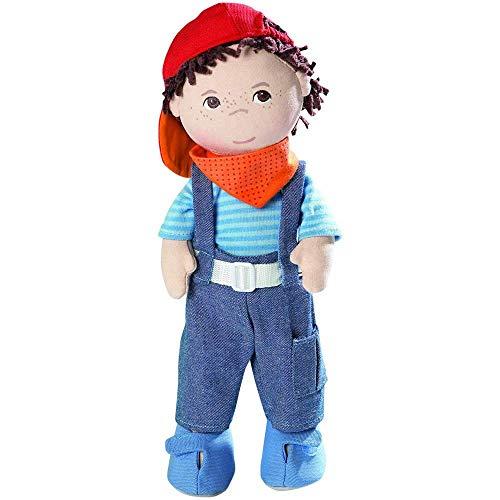 Haba 2142 - Puppe Matze weiche Stoffpuppe, ab 18 Monaten, cooler Junge zum Spielen und Kuscheln, mit Kleidung und weichen Haaren