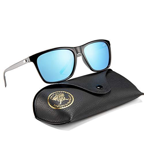 Rocf Rossini Polarisiert Herren Sonnenbrille für Damen klassisch Retro Sonnenbrillen Aluminium-Magnesium-Legierung Männer und Frauen Vintage Anti Reflexion UV400 Schutz - Unisex (Schwarz-Gun/Blau)