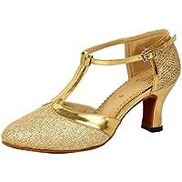 Honeystore Women's Latin Dance Closed Toe T Strap Glitter Mary Jane Dance Shoes