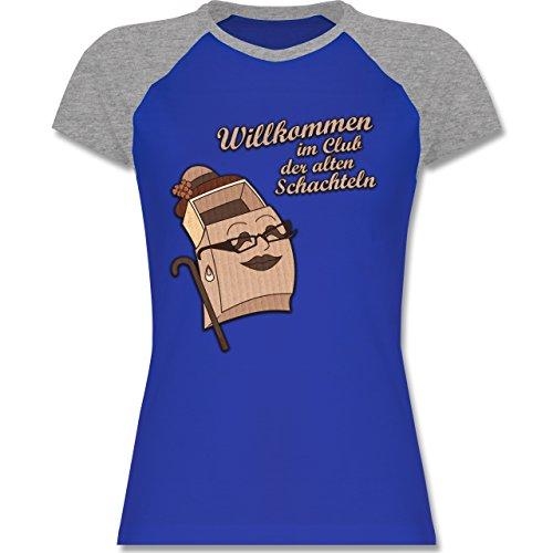 Shirtracer Geburtstag - Willkommen IM Club der Alten Schachteln - Zweifarbiges Baseballshirt/Raglan T-Shirt für Damen Royalblau/Grau meliert