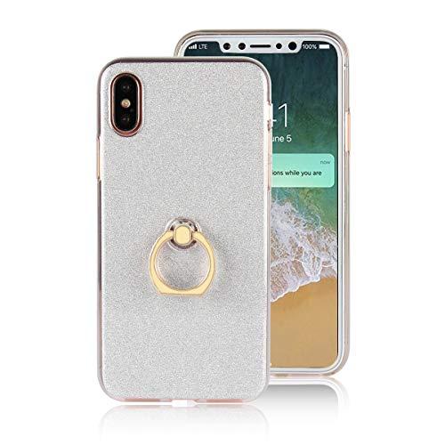 """Misstars Hülle für iPhone X/iPhone XS, Ultra Dünn Transparent Weiche TPU Silikon + Glitzer Weiß Papier Hybrid 2 in 1 Design Bling Schutzhülle mit Ring Ständer für Apple iPhone X/XS / 10 (5,8\"""")"""