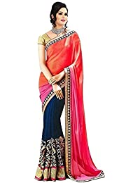 Women's Clothing Orange Navy Blue Georgette Sarees For Women Party Wear Offer Latest Designer Wedding New Collections...