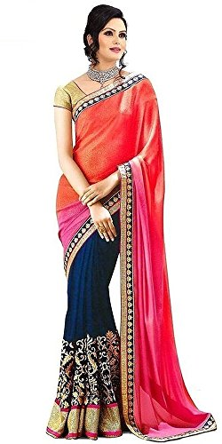 Arawins Orange Navy Blue Georgette Sarees For Women Party Wear Designer Saree...