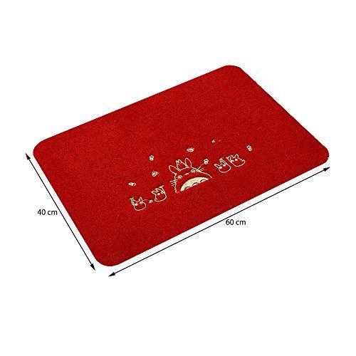 Homecube Türmatte Teppich Sauberlaufmatte Fußmatte Schmutzfangmatte schwarze Teppich mit Cartoon Design Süß 40cm X 60cm für Badzimmer oder Kinderzimmer u.s.w (Rot)