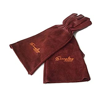 Rose Pruning Gloves for Men and Women. Thorn Proof Goatskin Leather Gardening Gloves with Long Cowhide Gauntlet to Protect Your Arms Until the Elbow (Extra Small, Maroon)
