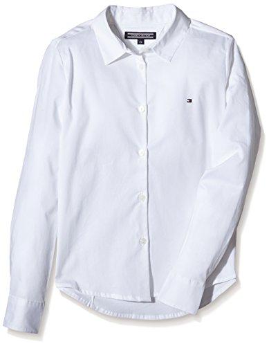 Tommy Hilfiger Mädchen Bluse SARAH SHIRT L/S, Gr. 152 (Herstellergröße: 12), Weiß (CLASSIC WHITE 100)