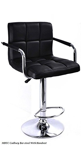 MBTC Cadbury Bar stool / Cafeteria Chair in Black With Handrest