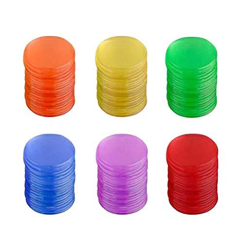 Toyvian 120pcs Pieces Bingo Chips Contadores de color transparente contando marcadores de plástico con bolsa de almacenamiento 19 mm (azul + rojo + amarillo + verde + púrpura + naranja cada 20 piezas)