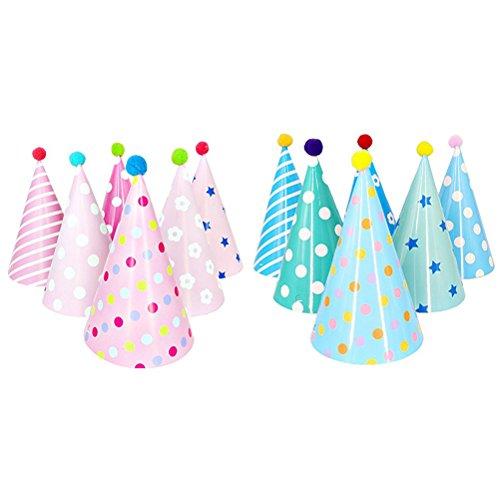 TOYMYTOY 12 Pcs Partyhüte Kegel Hut mit Pom Poms Kinder Geburtstag Party Geschenk Dekoration (Blau und Rosa)