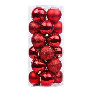 Tenrany Home 24 Piezas Bolas de Navidad Decoradas, Plastico Christmas Tree Balls Inastillable Bola de Adornos árbol de Navidad para Decoraciones de la Fiesta de Navidad
