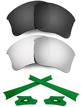 HKUCO For Oakley Flak Jacket XLJ Black/Silver Polarized Replacement Lenses And Green Earsocks Rubber Kit
