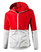 H&E Men's Fast Dry Outdoor Zip Up Hooded Windbreakers Jackets X-Large Red