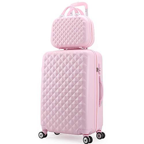 HRUIIOIH Koffer-Set, Diamond Grain Koffer Zipper Boarding Universal-Radschlösser Große Kapazität Multifunktionskoffer Kosmetikkoffer 20 Zoll + 14 Zoll,Pink,34 * 24 * 55cm