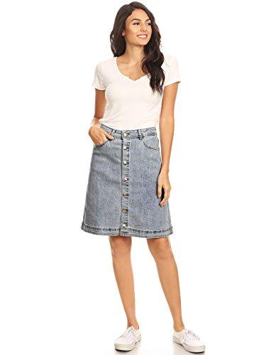Anna-Kaci Damen Elastisch Denim Stretch Knopf Midi Bleistift a Linien Jeans Skirt Jeansrock Flare Rock, XXL, Blau Damen Stretch Flare Jeans