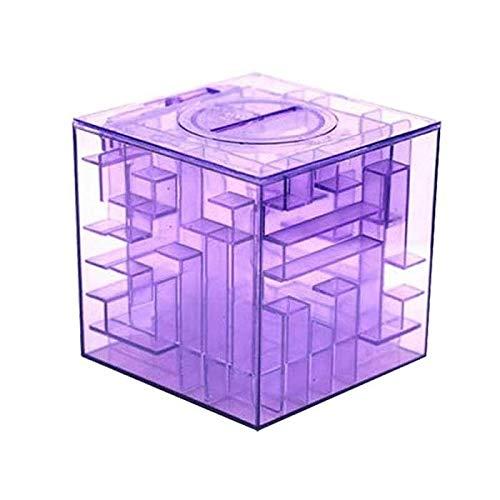 Yichener 3D-Würfel Kristall Puzzle Spiel Labyrinth Spardose Kreative Kinder Spielzeug Spardose Spielzeug für Kinder FJ88 violett