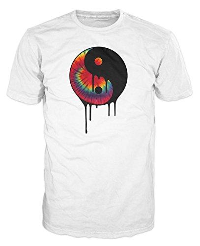 Tropfendes Yin und Yang Tie Dye Swag T-Shirt (Weiß) Gr. X-Large, Weiß