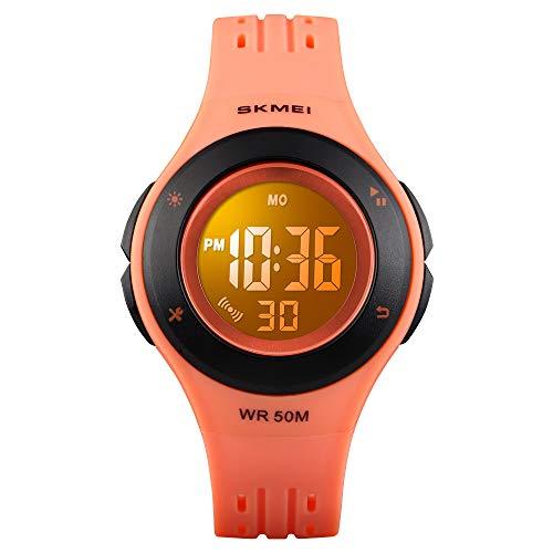 TONSHEN Mehrfarbig LED Licht Kinder Digital Sport Uhren 50M Wasserdicht Outdoor Multifunktional Elektronik Alarm Stoppuhr Junge Mädchen Armbanduhr (Orange) Orange Elektronik