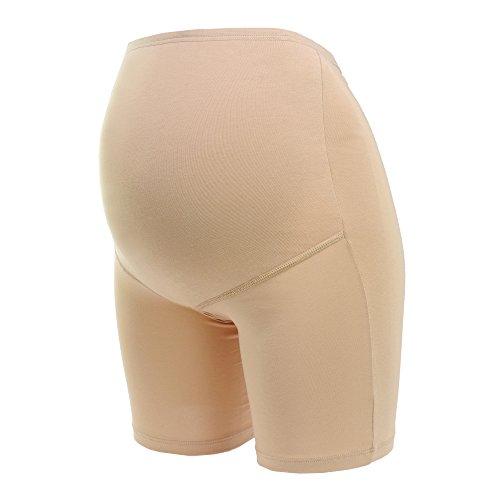 Herzmutter Umstandsslip-Schwangerschaftsslip mit Langem Bein - für Schwangerschaft-nach Geburt - hochwertiger Baumwoll-Mix - Beige-Hautfarben-Schwarz - 1er & 2er-Set - 5000 (L, Beige)