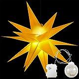 3D Faltstern Leuchtstern Adventsstern Weihnachtsstern mit 18 Zacken Stern 3D Kunststoff Ø 60cm Fensterstern mit LED Kugel(Gelb Klassisch ohne Lampe)
