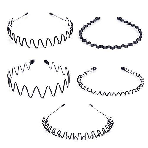 5 Stücke Frauen Männer Schwarz Multi-Stil Frühling Welle Metall und Kunststoff Haarband Stirnband Haarbänder Haarreif Haargummis Junge Mädchen Flexible Stirnband Zubehör-Schwarz