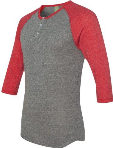 Alternative Herren Eco-Jersey 3/4-Sleeve Raglan T-Shirt, Ecgy/Ecotruered, X-Klein -