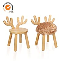 Outwin Animal Stool Chair for Children Kids Wooden Chair with Soft Cushion and Backrest for Birthday & Christmas Present (Sika Deer)