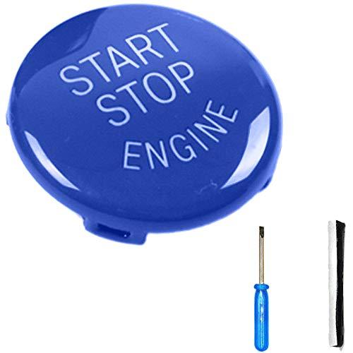 Refaxi Kit En Plastique De Voiture DéMarrage Bouton Poussoir Commutateur Allumage Démarreur Tactile Pour BMW(Bleu, Avec Outil)