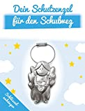 ART + emotions Schlüsselanhänger - Schutzengel für den Schulweg - Glücksbringer für Schulkind - Beschützer Engel aus Metall mit geschliffenem Glasstein als Geschenkidee zur Einschulung und Schulanfang