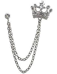 The best of Planet White Metal Badge Virgin Chestnut Crown Brooch For Men