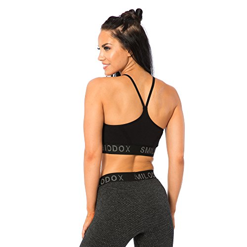 SMILODOX Seamless Sport-BH Damen | Fitness-BH ohne Bügel | Starker halt im Training - Bustier ideal für Yoga Gym Fitness & Workout - Soft Büstenhalter - Sports Bra Schwarz