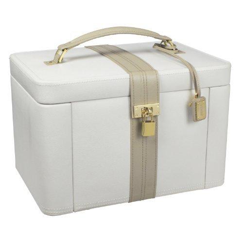 Dulwich Designs Luxus Leder Schmuckkästchen 71022, cremefarben, zweifarbig