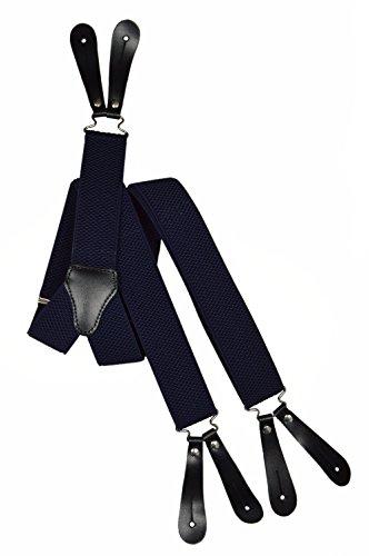 Olata Bretelles à Boutons avec Cuir Naturel, 3.5cm (modèle B). Bleu Navy