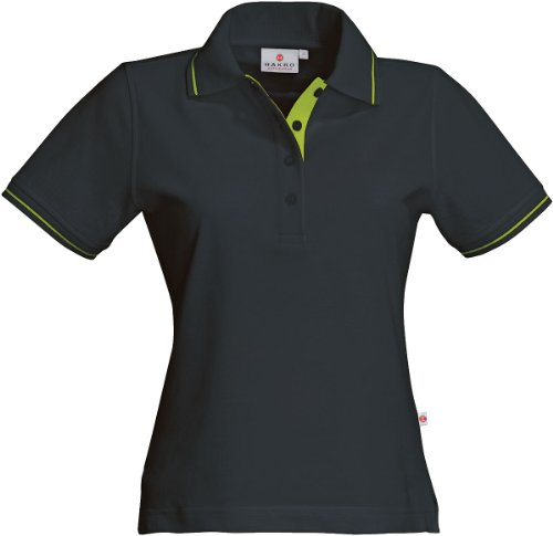 HAKRO Damen Polo-Shirt Casual - 203 - anthrazit/kiwi - Größe: M