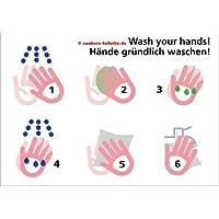 4x Hände gründlich waschen (Piktogramme in 6 Schritten) - Saubere Toiletten bzw. WC Aufkleber