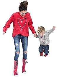 Camiseta para Madre e Hijo Hija de Manga Larga T Shirt con Impresión de Corazón Sudadera sin Capucha Camisa Top de Cuello Redondo para Mamá y Niños Primavera Otoño Invierno