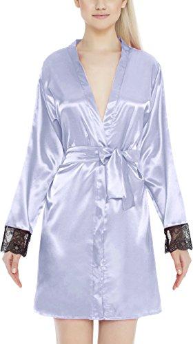 m.Lyra Damen Nachtwäsche Morgenmantel aus Satin LUCA Übergrößen (3XL – 10XL) Hellblau