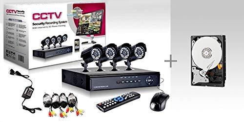 KIT VIDEOSORVEGLIANZA h264 CCTV 4 CANALI TELECAMERA INFRAROSSI DVR 4 CANALI - 4 ALIMENTATORI - 4 PROLUNGHE - HARD DISK 160 GB