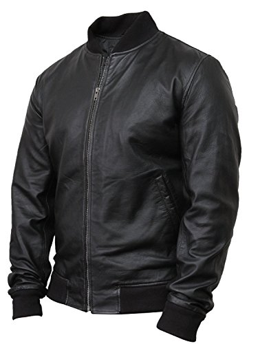 Brandslock homme blouson veste varsity en cuir d'origine classic retro M2 Noir