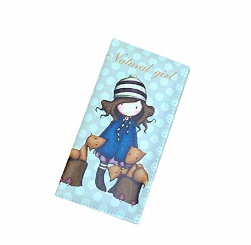 Geldbörsen, Rcool Frauen PU Cartoon Graffiti LORI Girl lange Geldbörse Geldbeutel Lederhandtasche (Himmelblau) (Prada Geldbörsen Taschen)