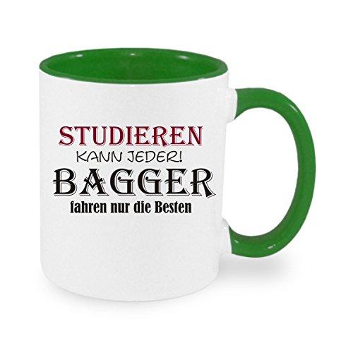 ' Studieren kann jeder - Bagger fahren nur die Besten ' Kaffeetasse mit Motiv, bedruckte Tasse mit...