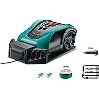 Bosch Indego 350 Connect - Cortacésped robot (con función de app, conectividad, ancho de corte: 19 cm, área de corte: 350 m², 100 m de cable, 140 estacas, 2 conectores, 18 V)