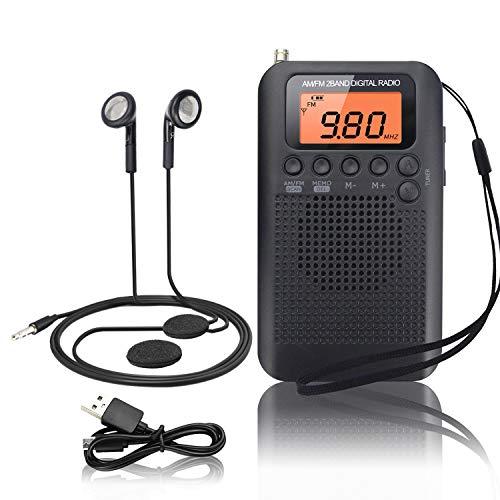 Tragbares Radio Mini FM/AM Stereo Digital Radio mit Kabel Portable Radio mit Kopfhörer und Eingebauten Lautsprechern Multifunktionale Pocket Radio mit Wecker und Sleep Timer, Wechselbar Akku/Batterie (Pocket Fm Radio Mini Am)