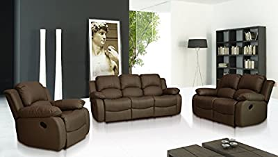 Valencia Brown Recliner Leather Sofa Suite 3+2 Seater Brand New 12 Months warranty FREE DELIVERY from Sofailove