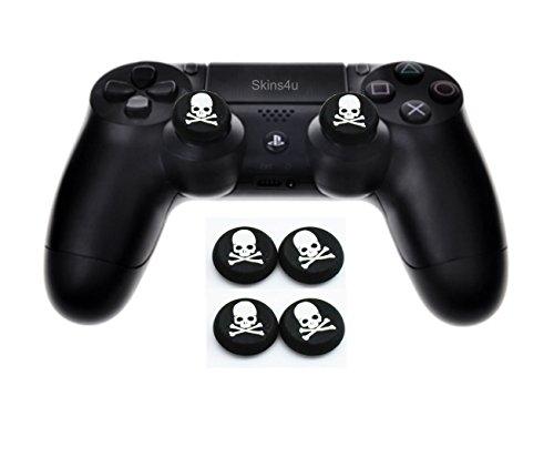 Skins4u 4X Controller Thumb Sticks Silikon Griß Aufsätze kompatibel mit PS4 Xbox One Xbox 360 Gamepads Totenkopf Skull