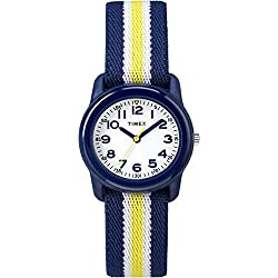 Timex Kid's TW7C05800 Quartz Watch with White Dial Analogue Display and Multicolour Elastic Strap