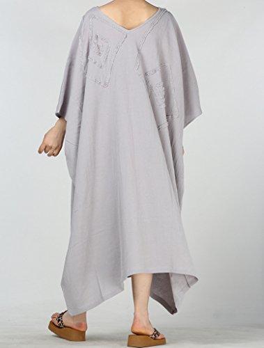 MatchLife Femme Nouvelle Robe Tunique Caftan Style Boubou Kimono Maxi Gris