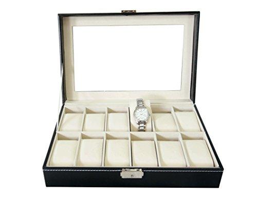 Todeco   Caja de Relojes  Caja de Almacenamiento de Relojes y Pulseras   Tamaño: 30 x 20 x 8 cm   Material de la caja: MDF   12 relojes y pantalla  Negro/Beige