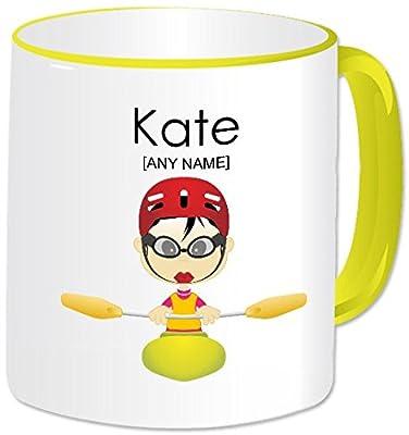 Personalised Gift - Kayaking Mug (A GoPersonalised Design) - Any Name / Message. Water Sports Activities Kayak Canoe Canoeing Themed Design (Oriental Female) by GoPersonalised