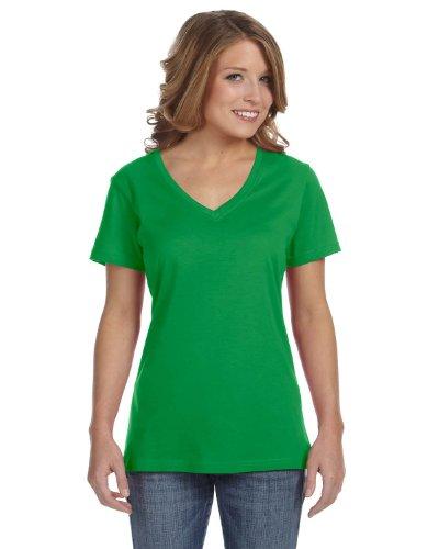 Anvil - T-shirt à col en V - Femme Vert pomme