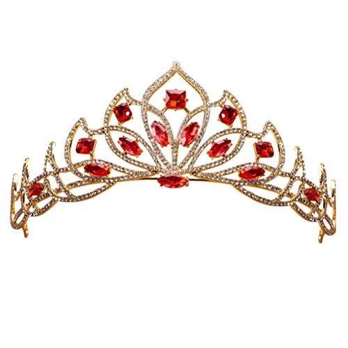 Lurrose Edle Strassblumenkrone mit buntem Kristalldekor Braut Tiara (rot)